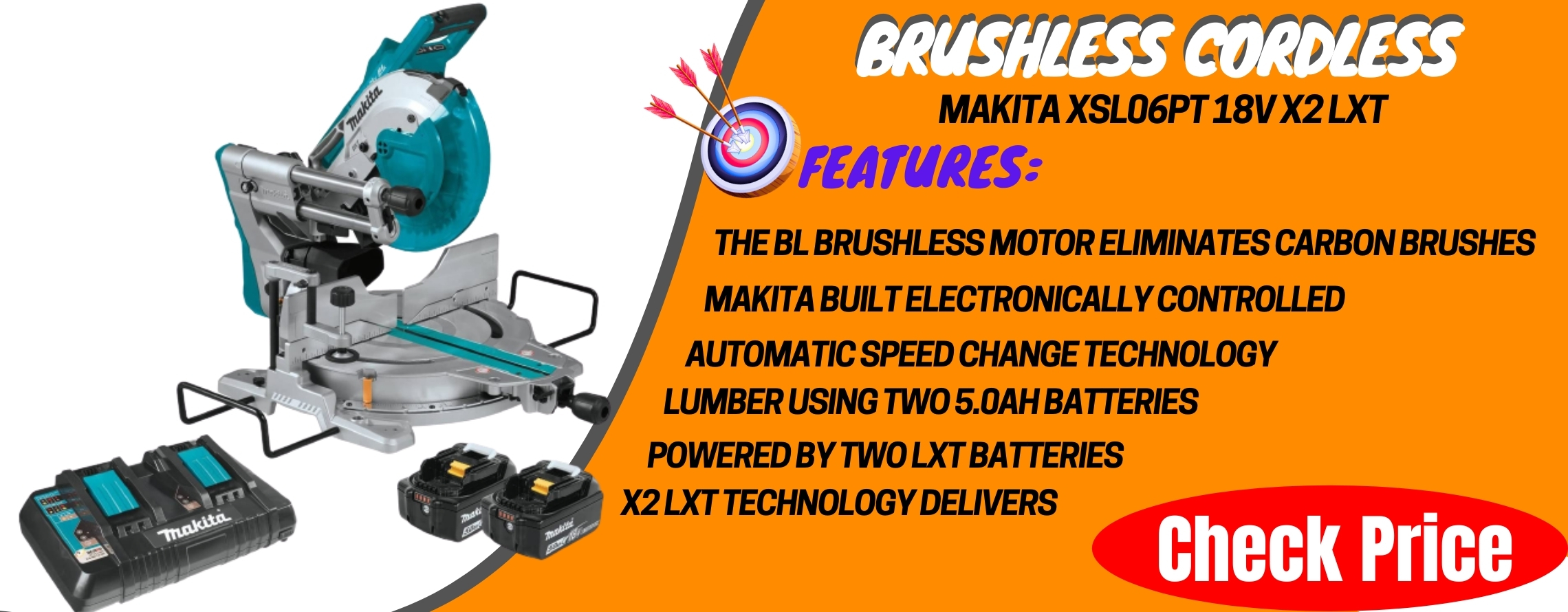 Makita XSL06PT 18V x2 LXT Lithium-Ion (36V) Brushless Cordless 10_ Dual-Bevel Sliding Compound Miter Saw with Laser Kit (5.0Ah)
