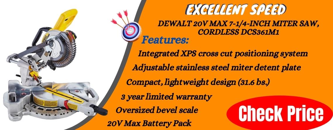DEWALT 20V MAX 7-14-Inch Miter Saw, Cordless DCS361M1