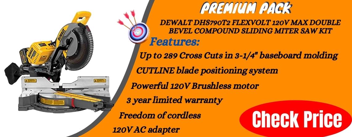 DEWALT DHS790T2 FLEXVOLT 120V MAX Double Bevel Compound Sliding Miter Saw Kit