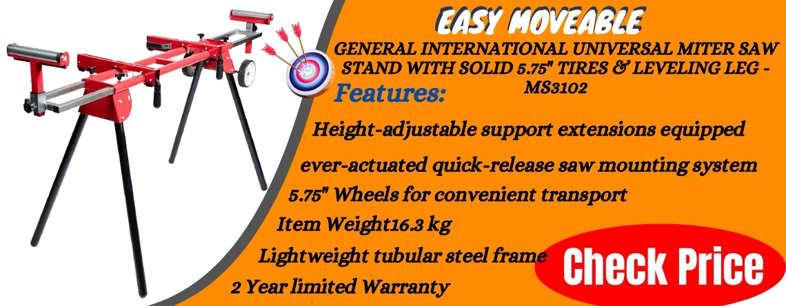 General International Universal Miter saw stand with solid 5.75 tires & leveling leg - MS3102 Reviews