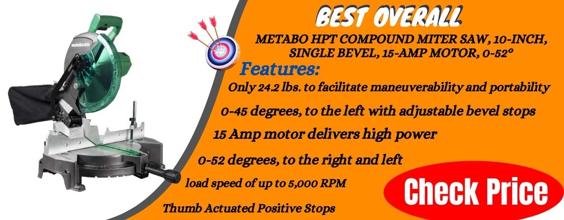 Metabo HPT Compound Miter Saw, 10-Inch, Single Bevel, 15-Amp Motor, 0-52°